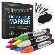 ONUPGO Liquid Chalk Markers, 8 Pack Erasable Chalkboard Pens with 16 Chalkboard Labels, Bright Colors, Painting and Drawing For Kids and Adults, Window and Board Art For Bistro, Glass - Reversible Tip