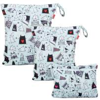 Damero 3Pcs Wet Dry Bag with 2 Zippered Pockets and Snap Handle for Cloth Diaper, Swimsuit, Clothes, Ideal for Travel, Exercise, Daycare, Roomy and Water-Resistant (Cats)