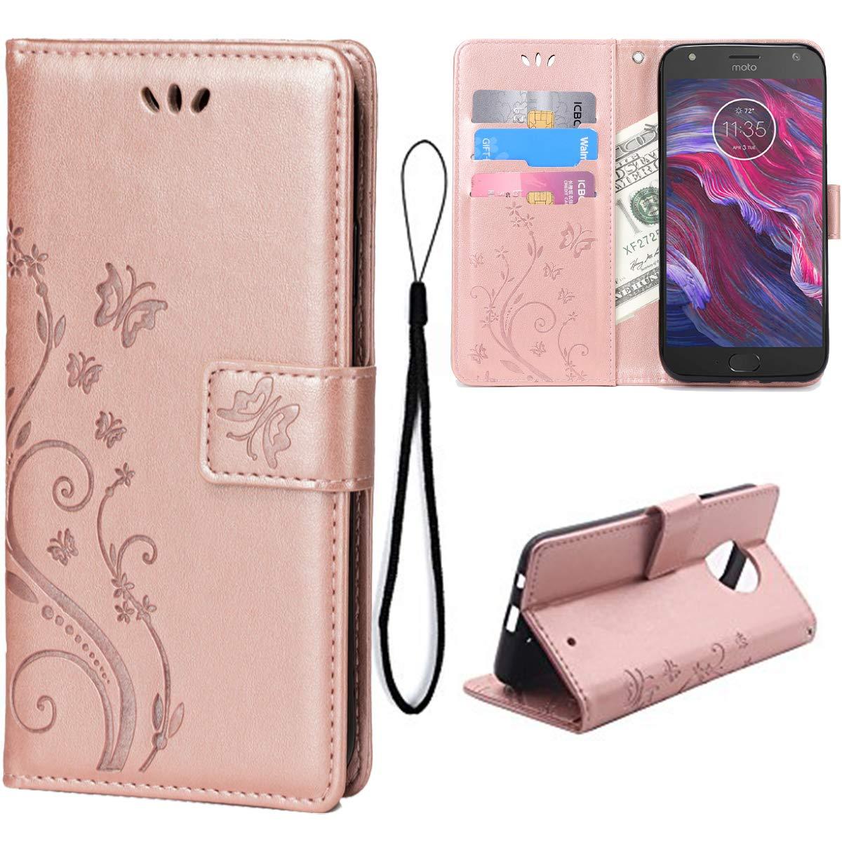 Wallet Case for Motorola Moto X4, 3 Card Holder Embossed Butterfly Flower PU Leather Magnetic Flip Cover for Motorola Moto X4(Rose Gold)