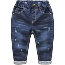 SISAVE Little Baby Boys Girls Elastic Waist Ripped Denim Pants Jeans