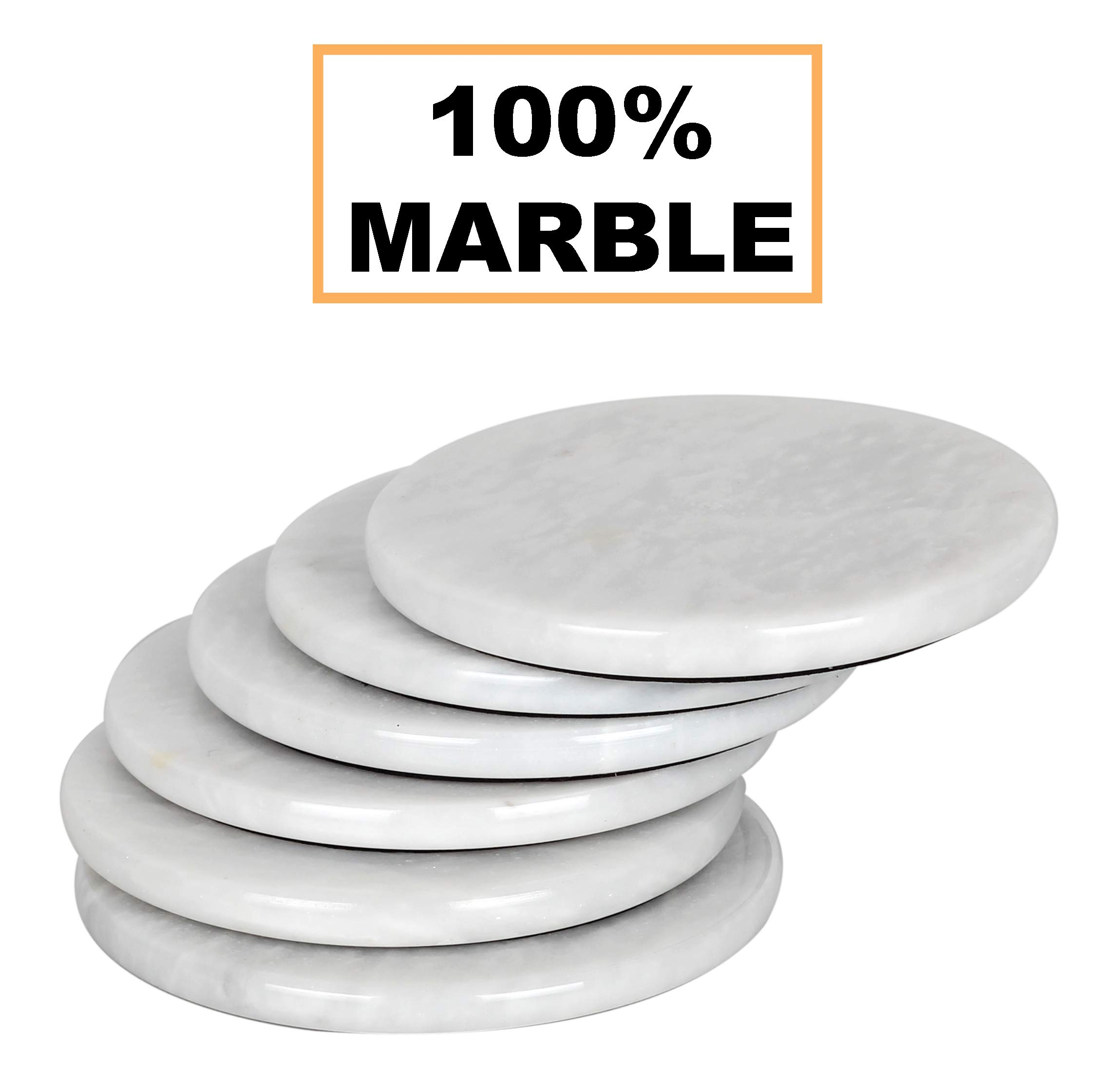 Coaster Set of 6 Handmade Marble Warming Coffee 3.5 Inches Round Coasters Set for Mug Glass Drinks - Non Plastic Non Tile - Ideal for Car and Outdoor Pot Mat Caddy Kitchen Cup Pad Coaster Sets (WHITE)