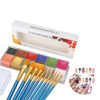 CCbeauty Professional Face Paint Oil Body Painting Art Party Fancy Make Up + Brushes Set+ 8 Sheet Halloween Nail Stickers