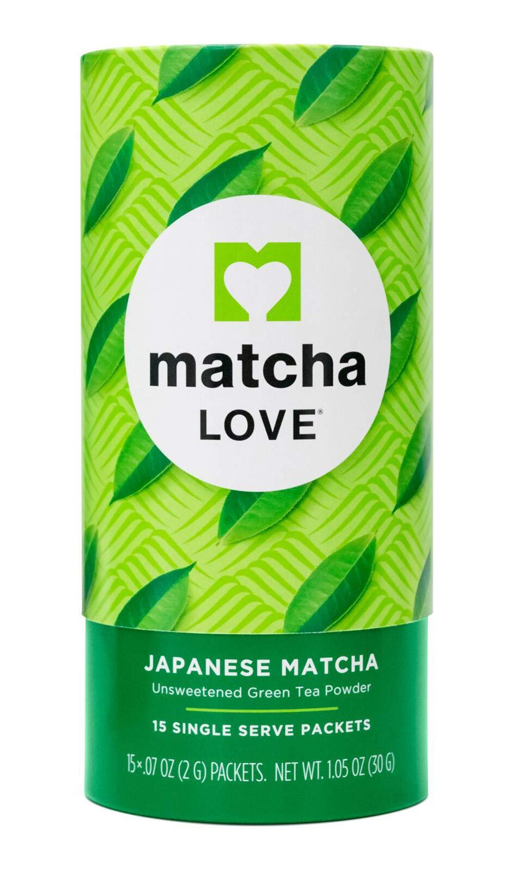 Matcha Love Japanese Matcha, Unsweetened Green Tea Powder Packets, 15 Single Serve Packets, 1.05 Ounce Can