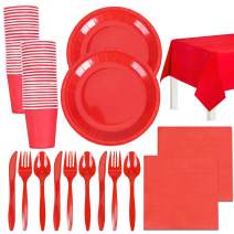Christmas Party Supplies Disposable Red Xmas Paper Plates and Napkins Bulk Serves 24 Cups Spoons Forks Knives Tablecloth (Red)