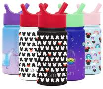 Simple Modern Disney Water Bottle for Kids Reusable Cup with Straw Sippy Lid Insulated Stainless Steel Thermos Tumbler for Toddlers Girls Boys, 14oz, Mickey Mouse Ears (Black)