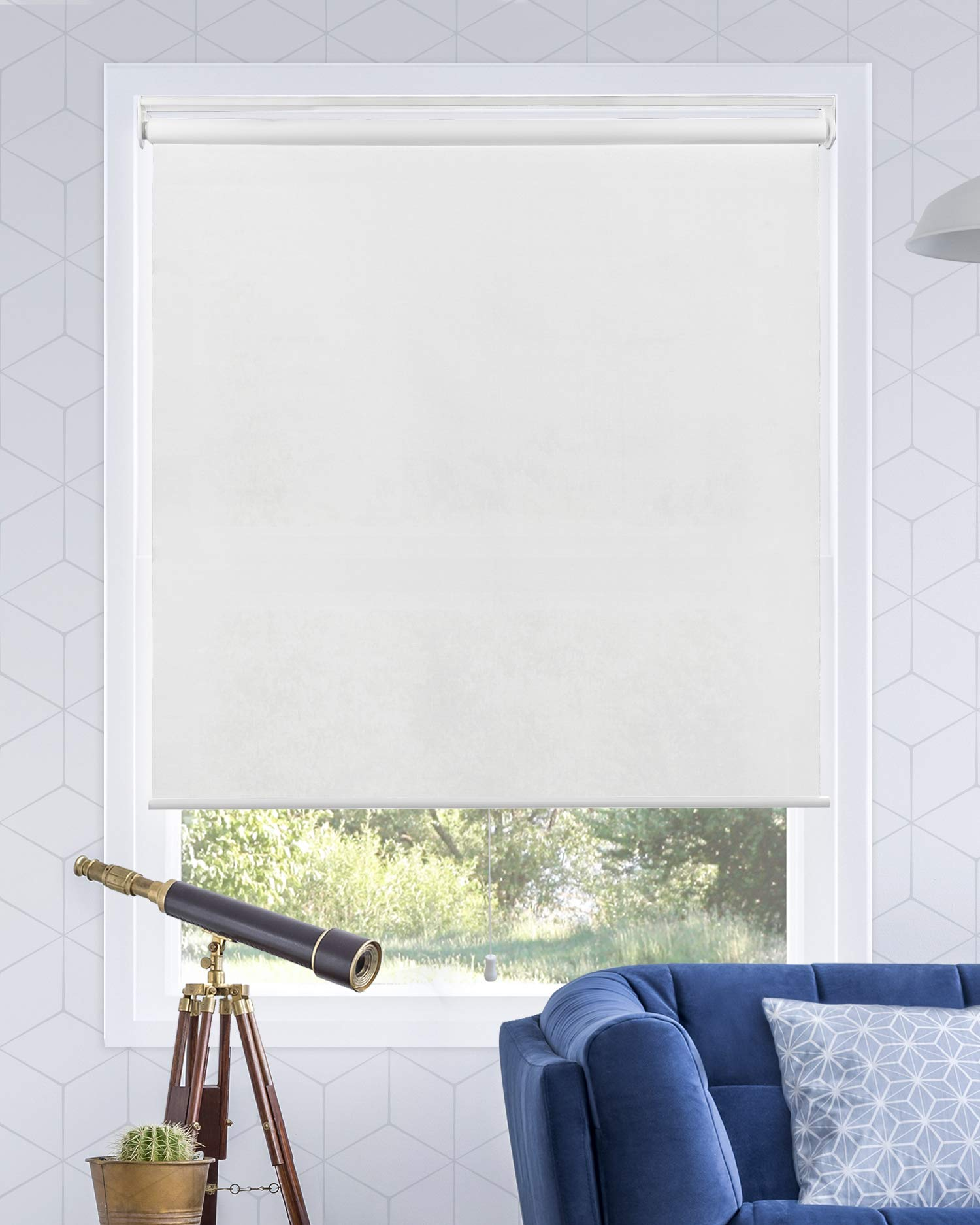 """Chicology Cordless Roller Shades Snap-N'-Glide, Light FilteringPerfect for Living Room/Bedroom/Nursery/Office and More.Urban White (Light Filtering), 31""""W X 72""""H"""
