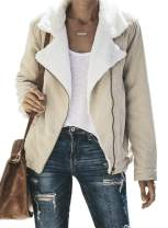 Happy Sailed Women Button Lapel Hooded Faux Fuzzy Shearling Fleece Open Front Warm Oversized Jackets Coat with Pockets