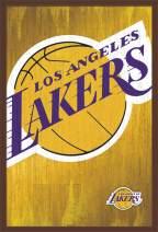 "Trends International NBA Los Angeles Lakers - Logo, 22.375"" x 34"", Mahogany Framed Version"