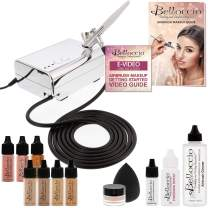 Belloccio Professional Beauty Airbrush Cosmetic Makeup System with 4 Medium Shades of Foundation in 1/4 Ounce Bottles - Kit Includes Blush, Bronzer and Highlighter and 3 Bonus Items and Video Link