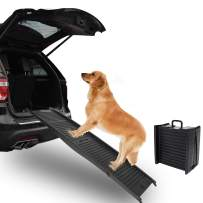 ECOTRIC Folding Pet Dog Ramps for SUV Truck RV Cars |Sturdy and Compact and Lightweight | Pets Accessories Best for Car or High Bed, Small Medium Large Dog & Older Cats | Upgraded with Grip Tape