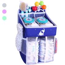 Hanging Diaper Caddy - Diaper Organizer for Changing Table - Changing Table Organizer - Diaper Stacker - Diaper Holder Organizer Hanging - Diaper Organizer for Crib - Elephant Blue - 17x9x9 inches