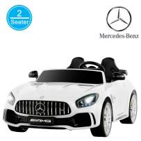 Uenjoy 2 Seater 12V Electric Kids Ride On Car Mercedes Benz AMG GTR Motorized Vehicles with Remote Control, Battery Powered, LED Lights, Wheels Suspension, Music, Horn, Compatible with Mercedes,White