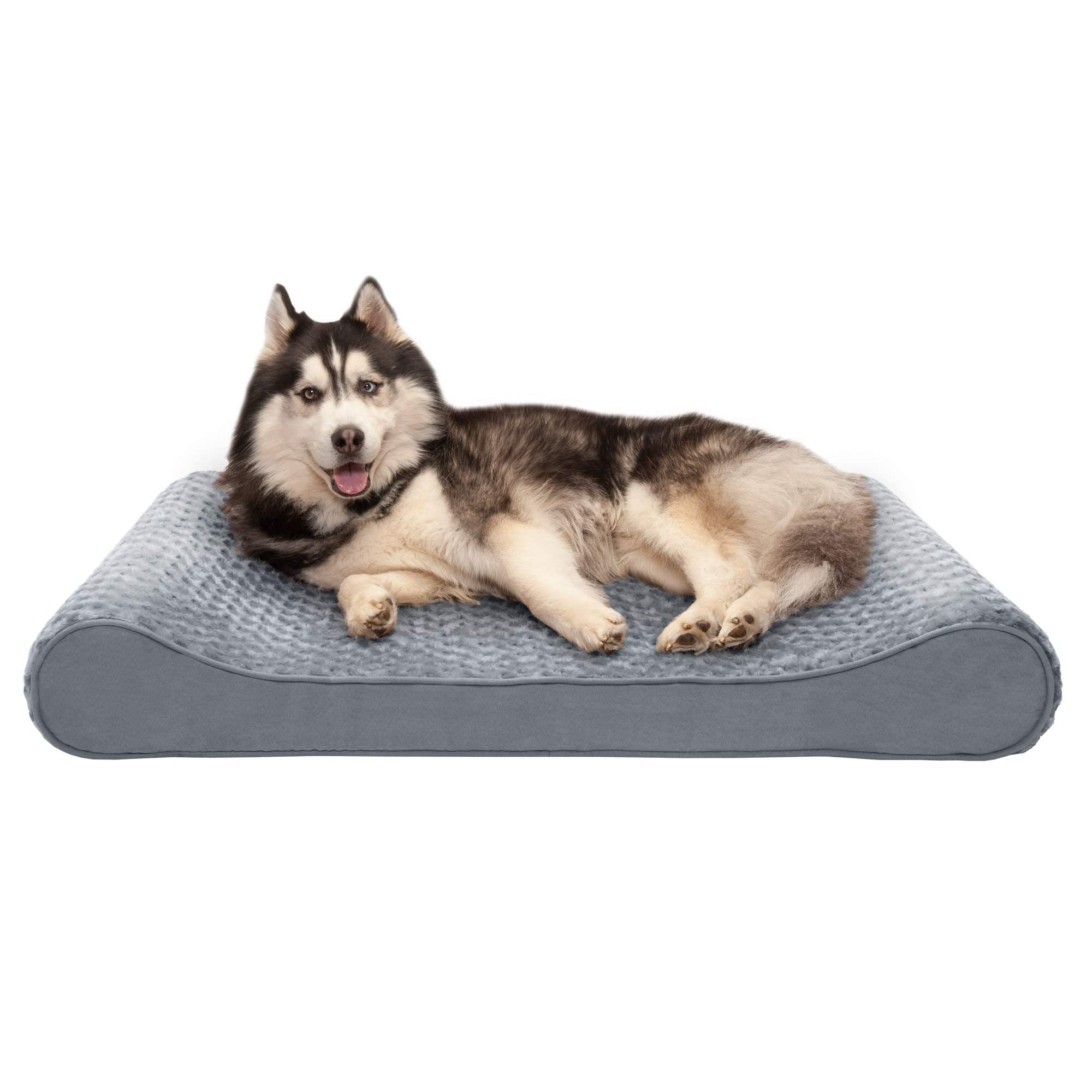 Furhaven Pet Dog Bed   Memory Foam Ultra Plush Faux Fur Ergonomic Luxe Lounger Cradle Mattress Contour Pet Bed w/ Removable Cover for Dogs & Cats, Gray, Jumbo