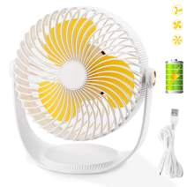 Small Personal USB Desk Fan,MroTech Mini Table Fan Quiet Portable Stroller Table Fan with USB Rechargeable Battery 360 Degree Rotation Cooling Electric Fan for Office Room Outdoor Traveling-White