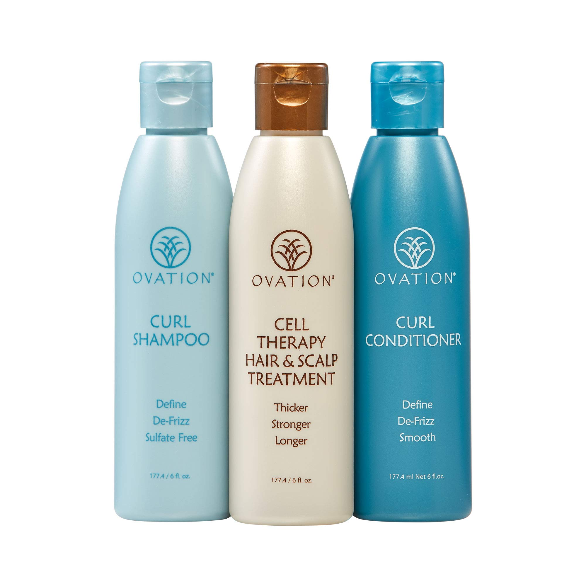 Ovation Curl Cell Therapy System - Salon Quality - Get Stronger, Fuller & Healthier Looking Hair with Natural Ingredients. Includes Curl Therapy Treatment Shampoo and Curl Conditioner. Made in the USA