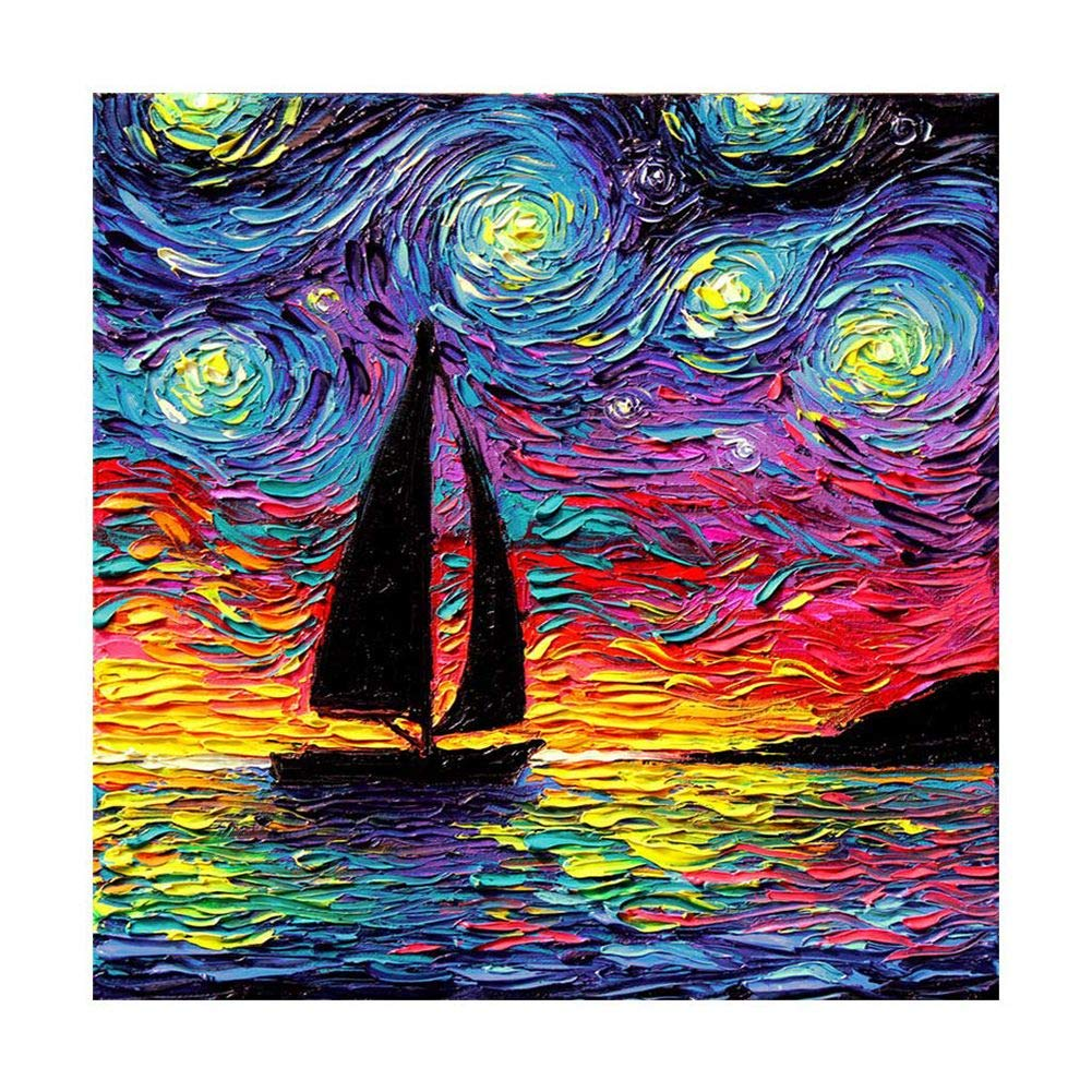 DIY Diamond Paint by Kits for Adults. Cross Stitch Sets with Tools Home Decor Toys for Disability De-Stress Finess Diamonds 11.8x11.8 in Sailing Coloful Sky