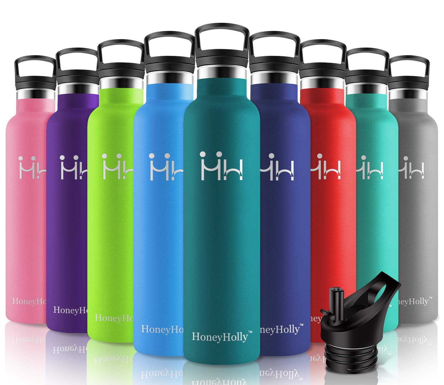 HoneyHolly Stainless Steel Vacuum Insulated Water Bottle,Reusable Bpa Free Metal Sport Bottles with Straw & Filter, 350/500/600/750/1000ml Leakproof Hot & Cold Drinks BottleTravel Thermoflask