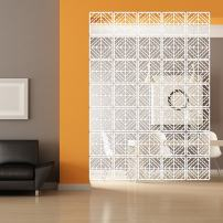 """YIZUNNU Hanging Room Divider Panel, 12P/Set White Panels Screen Wood Plastic Board Room Partition Home Decor,11.4""""x11.4"""""""
