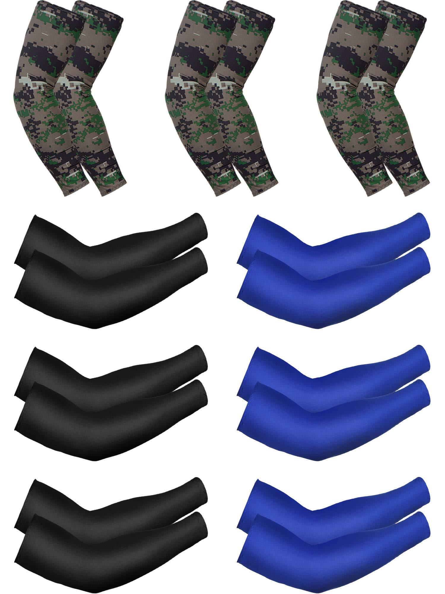 Unisex UV Protection Sleeves Long Arm Sleeves Cooling Sleeves Ice Silk Arm Cover Sleeves (Black, Navy Blue, Camouflage, 9 Pairs)