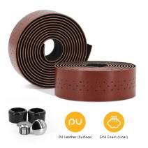 Weanas Bike Handlebar Tape PU Leather Road Bicycle Handlebar Grip Wraps Bar Tapes with Bar End Plugs - 2PCS Per Set