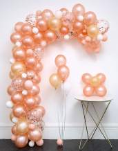 LFVIK Rose Gold Confetti Balloon 117pcs Garland Kit (Rose Gold.Rose Gold Confetti.Champagne Gold.Baby Pink.White.) Tying Tools+Decorating Strip+Glue Dots+Flower Clips+Ribbon Wedding Party Baby Shower