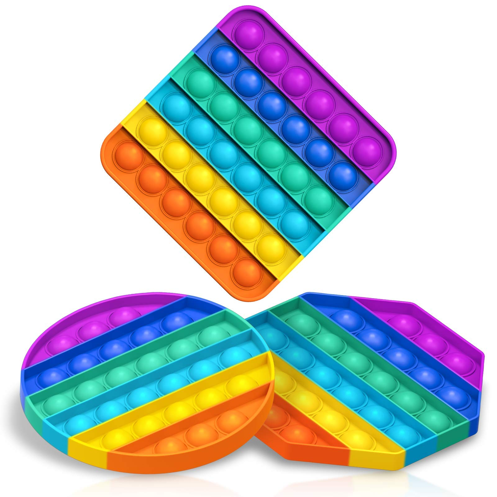 KOUQIYA Rainbow Pop Fidget Toys , 3 Pack Push Pop Bubble Fidget Sensory Toy Anxiety Relief Toys for Boys and Girls Colorful ADHD Toys Fidgets for Kids