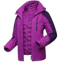 Flygo Womens 3 in 1 Interchange Ski Rain Moutain Jacket Windproof Waterproof Parka Coat