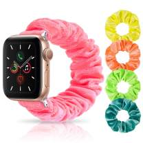 Whaline Scrunchie Elastic Watch Band, Compatible with iWatch Series 1/2/3/4/5, with 4 Pieces Velvet Scrunchies Hair Elastic Ties Ponytail Holder for Women Girls (Neon, 38/40mm)