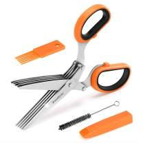 Zazolyne Herb Scissors Set , Kitchen Shears Heavy Duty with Cleaning Brushes and Cover Unique Orange