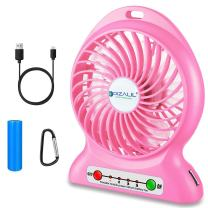 dizauL Portable Fan, Mini USB Rechargeable Fan with 2600mAh Battery Operated and Flash Light,for Traveling,Fishing,Camping,Hiking,Backpacking,BBQ,Baby Stroller,Picnic,Biking,Boating (Pink)