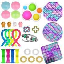 Elippeo Fidget Toys Set, Simple Dimple Fidget Toy 25 Packs Cheap, Push Pop Bubble Sensory Toy, Fidgeting Game Kill Time Tools for Kids and Adults (B-2 Fidgets Box)