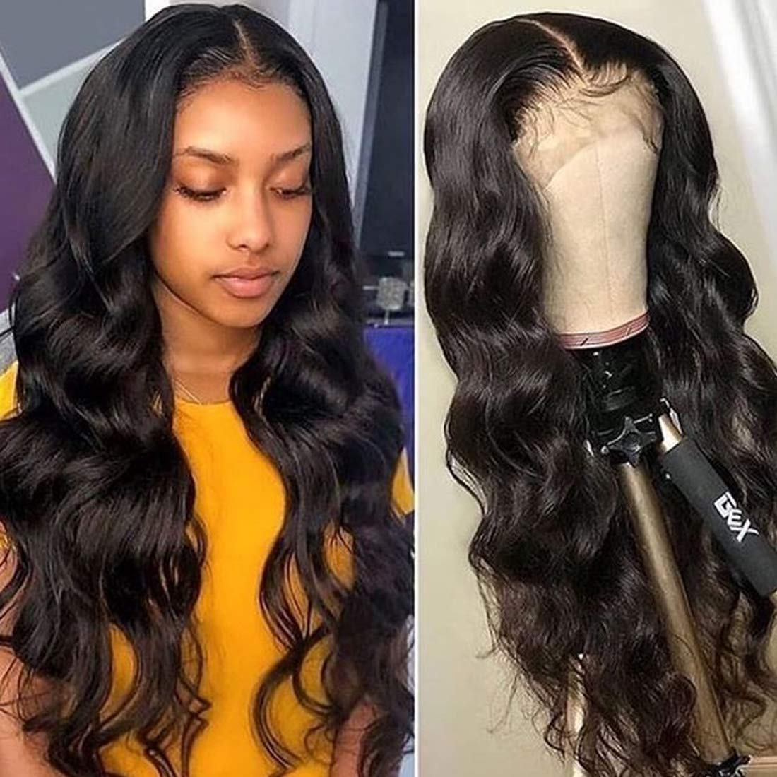 ZXZ Body Wave Lace Front Human Hair Wigs For Black Women 18 Inch 9A Brazilian Virgin Hair Pre plucked Human Hair Wigs With Baby Hair Wet and Wavy Glueless Lace Front Wigs(18 Inch)
