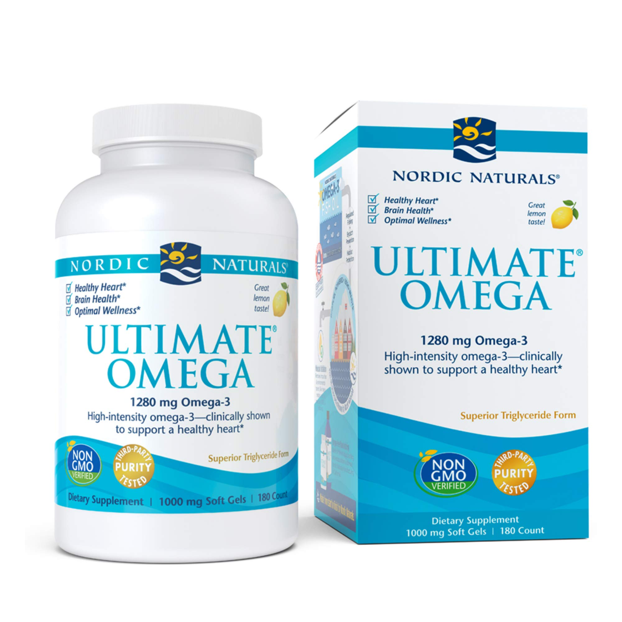 Nordic Naturals Ultimate Omega, Lemon Flavor - 1280 mg Omega-3-180 Soft Gels - High-Potency Omega-3 Fish Oil with EPA & DHA - Promotes Brain & Heart Health - Non-GMO - 90 Servings