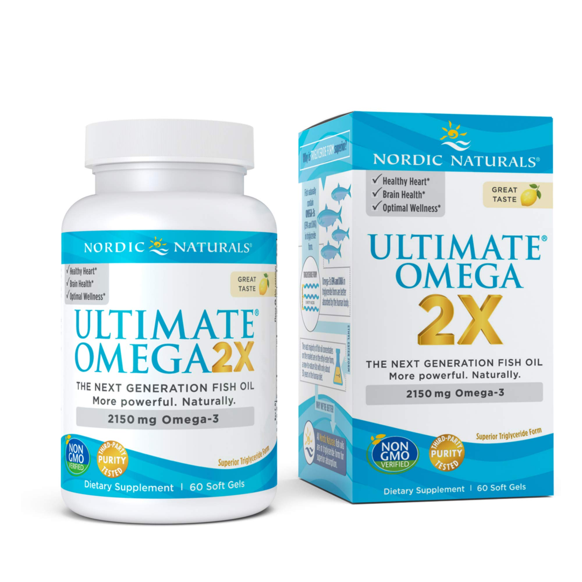 Nordic Naturals Ultimate Omega 2X, Lemon Flavor - 2150 mg Omega-3-60 Soft Gels - High-Potency Omega-3 Fish Oil with EPA & DHA - Promotes Brain & Heart Health - Non-GMO - 30 Servings