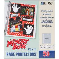 C-Line Memory Book 11 x 8.5 Inch Scrapbook Page Protectors, Heavyweight Poly, Top Load, 50 Pages per Box