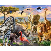 Adarl DIY Painting Paint by Numbers Kit for Adult, African Animal World with Brushes Paint for Adults Painting on Canvas