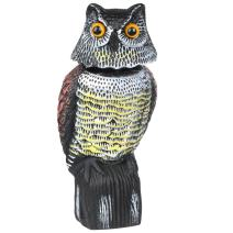 go2buy Garden Protection Repellent Bird Scarer Natural Enemy Scarecrow Rotating Head Realistic Owl