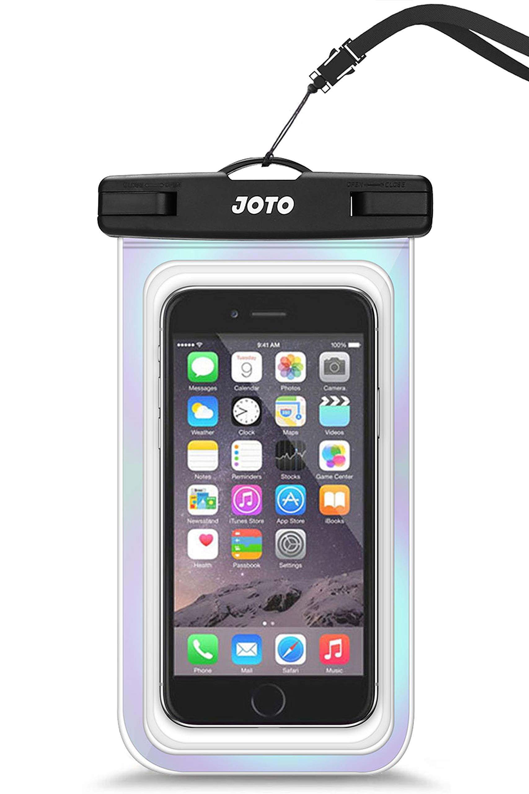 """JOTO Universal Waterproof Pouch Cellphone Dry Bag Case for iPhone 11 Pro Max Xs Max XR X 8 7 6S Plus SE 2020, Galaxy S20 Ultra S20+ S10 Plus S10e S9 Plus S8/Note 10+ 9, Pixel 4 XL up to 6.9"""" -Sparkle"""