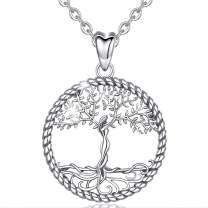 AEONSLOVE Tree of Life Necklace for Women Girls, Family Tree Necklace, 925 Sterling Silver Celtic Tree of Life Pendant 18'' Necklaces Jewellery Gifts for Women Mom Girlfriend