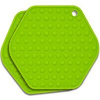 Stjerne Set of 2 Multipurpose Large Silicone Trivets, Mat, Multiple Spoon Rest, Jar Opener, Pot Holder, Coaster, 5-in-1, Heavy Duty & Flexible (Pear)