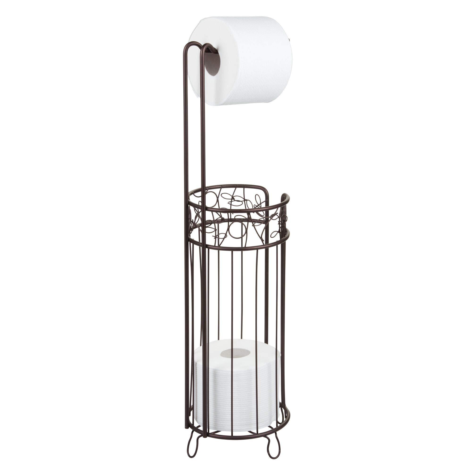 "iDesign Twigz Steel Free-Standing Toilet Paper Storage Dispenser - 7"" x 7"" x 25"", Bronze"