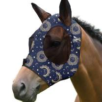 Harrison Howard Elasticity Horse Fly Mask Superb Comfort with UV Protection Standard Horse Fly Mask for Horse-Celestial Dreams(M; Cob)
