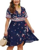 VSNOW Women's Plus Size Summer Boho Floral Print Short Sleeve Wrap V-Neck Swing A-Line Beach Mini Dress