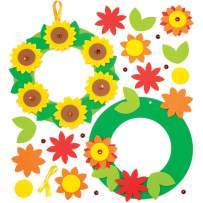Baker Ross Sunflower Wreath Frame Kit (Pack of 3) AW423 Wreath Craft Kit for Children to Craft and Decorate