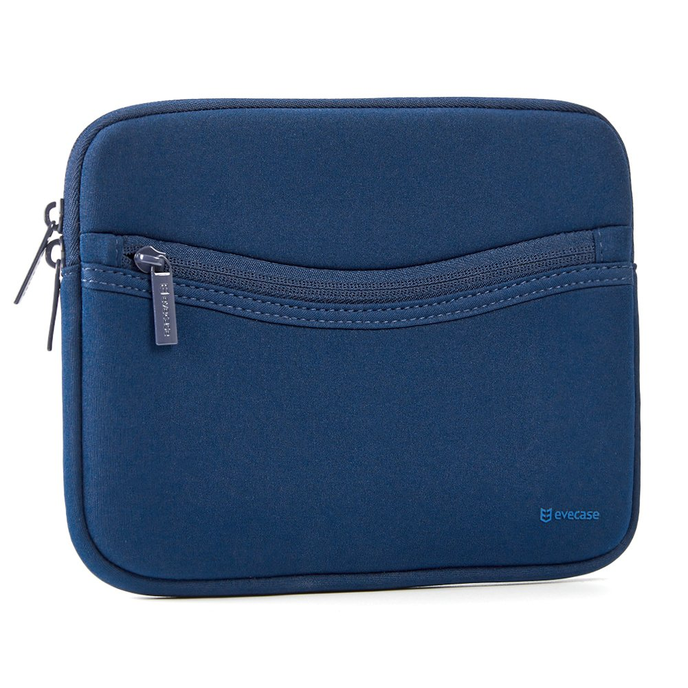 iPad Mini 4 Sleeve, Evecase Smile Padded Neoprene Zipper Carrying Sleeve Case Bag with Front Accessory Pocket for iPad Mini 4, 3, 2 / Android 7-8 inch Tablet Device - Navy Blue
