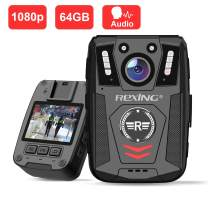 """Rexing P1 Body Worn Camera, 2"""" Display 1080p Full HD, 64G Memory,Record Video, Audio & Pictures,Infrared Night Vision,Police Panic Mode, 3000 mAh Battery,10HR Battery Life,Waterproof,Shockproof"""