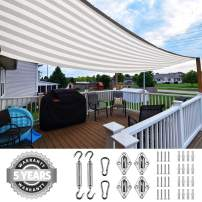 Quictent 185HDPE Stripe Color Rectangle Sun Shade Sail Outdoor Patio Lawn Garden Canopy Top Cover 98% UV-Blocked 26 x 20 ft with Free Hardware Kit (White and Grey)