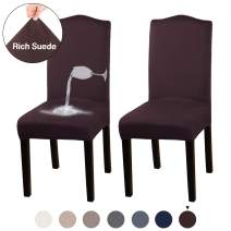 Turquoize Dining Chair Covers for Dining Room Stretch Chair Slipcover Sets Removable Washable Chair Furniture Protector Cover Suede Water Repellent Chair Covers for Dining Room, Ceremony (Brown, 2)