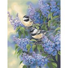 5D Diamond Painting Lilacs and Flowers and Birds Full Drill by Number Kits, SKRYUIE DIY Rhinestone Pasted Paint with Diamond Set Arts Craft Decorations (10x14inch) a004