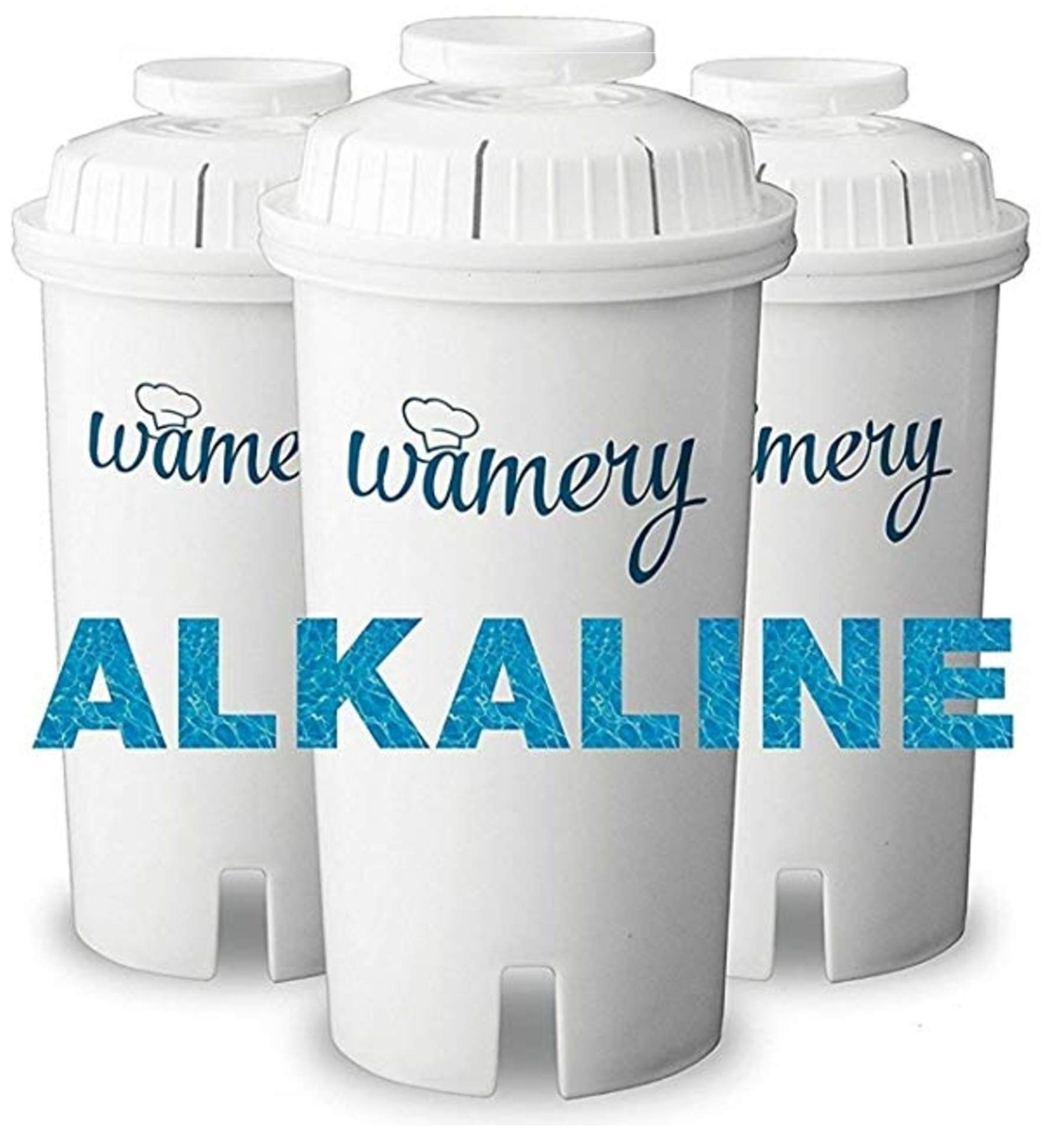 Wamery Certified Alkaline Water Filter Replacement 3-Pack, Enhanced 2020 Model, Fits Brita Pitcher, Increases Water pH, Removes Lead, Chlorine, Copper and More, Ionizer and Purifier System